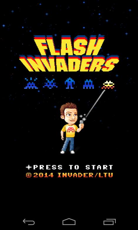 Ecran d'accueil Flash Invaders
