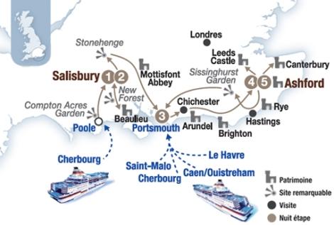 """Circuit """"Plein sud, jardins et Histoire"""" - Britanny ferries"""